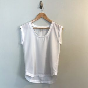 J. Crew Factory Sheer White T-Shirt Blouse S 2